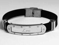 LEO - Mens Bracelet With Name - Silver Tone With Frame - Birthday Custom