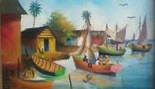 Vintage 1975 Signed Deluy Haitian Naif Art Caribbean Boat Scenic Painting Haiti