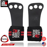 Crossfit Gloves Hand Grip wrist wraps 2 in1 leather palm protector WOD size L/XL