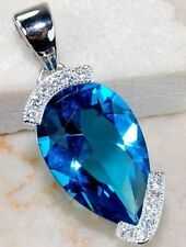 925 Silver Filled Sapphire Waterdrop Crystal Blue Gemstone Vogue Pendant Jewelry