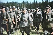 WW2 - Mussolini avec les Etat-majors italien et allemand