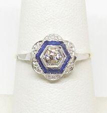Antique Art Deco Estate Natural Diamnd Sapphire Gold Platinum Ring  *Appraisal