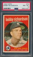 1959 Topps #76 Bobby Richardson New York Yankees PSA 8