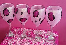 4 Vasos De Brillo Rosa Leopardo Vino Boda Cumpleaños Regalo De Navidad Novia