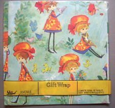 Girl with animals mushrooms 1970's? 80's wrap wrapping paper 2 sheets