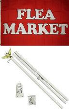 3x5 Advertising Flea Market Red White Flag White Pole Kit Set 3'x5'