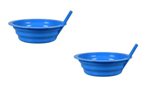 2 Pack Blue Sip-A-Bowls Cereal Ice Cream Bowl with BUILT-IN STRAW Kids BPA-FREE