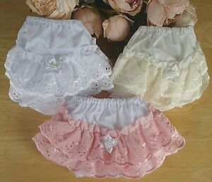 Baby White Pink Cream Broderie Anglaise Pearls Flower Pants Knickers 0-3-6-12-18