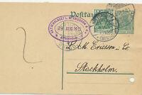 Ganzsache Postkarte 5 Pfg Germania + 5 Pfg n. Schweden,  Marienwerder 1912
