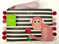 Kate Spade Leather Monkey Rambling Roses Pom Pom Bella Clutch Bag Pouch Wristlet