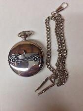 MG TD ref137 Pewter Effect Car on polished silver case pocket watch