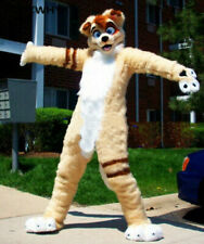 Beige Long Fur Husky Dog Mascot Costume Fox Fursuit Cosplay Fancy Dress Outfits