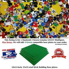 1 Genuine LEGO Minifigure. +BONUS: 4-Green 10x10-inch compatible Base plates