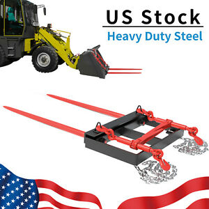 """49"""" Hay Bale Spear Bucket Front Skid Steer Loader Tractor Dual Tine Universal"""