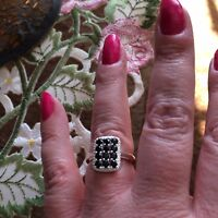 Size 6- 1.30ct Thai Black Spinel Sterling Silver Checkerboard Ring