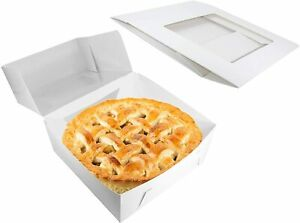 """Pie Boxes - White Cardboard Bakery Containers with Display Window - 9 x 9 x 2.5"""""""