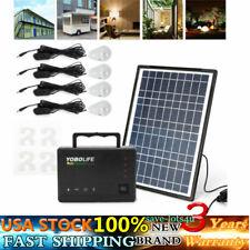 Solar Power Panel Generator Energy Storage USB Charger System Kit + 4 LED Bulb