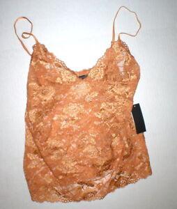NWT New Designer Josie Natori Lace Camisole Top Womens Sheer Copper M Adjustable
