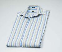 Paul Smith Men's Blue Striped long sleeved cuff links Shirt Size 39 - 15 1/2