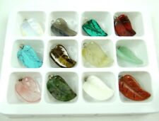 Wholesale 12PC Beautiful Carved Mixed agate Gemstone leaf Pendant Loose Beads