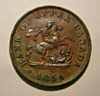 "1854 BANK OF UPPER CANADA ONE HALF  PENNY TOKEN VERY NICE ""YOU GRADE"" #18-052"