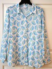 J Jill Women's L Linen Love Paisley Long Sleeve Blouse Shirt Top