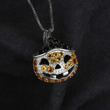 Black Spinel & yellow Pumpkin pendant Necklace Solid Sterling Silver Funky Fun