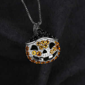 """Halloween Black Spinel yellow Pumpkin Pendant 18"""" Necklace Solid Sterling Silver"""