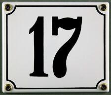 """SMALTO BIANCO Numero civico"""" 17"""" 14x12 cm Casa Targa immediatamente disponibile SCUDO"""
