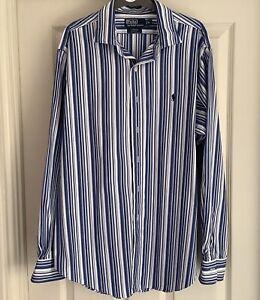 Polo by Ralph Lauren Blue Striped Shirt Size XL Stanton Classic Fit