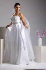 WEDDING GOWN Bridal DRESS SWEETHEART, CHIFFON, WHITE SIZE S-M,ITALY