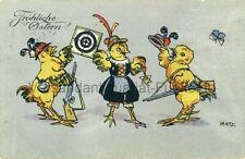 Postkarte Fröhliche Ostern 1914 Küken als Schützen Hatz. Österreich