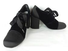 Vtg unlisted velvet Toe Lace Up Block Heel Oxford Pumps goth punk 6.5 7
