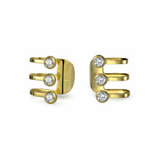 CZ 3 Band Cartilage Ear Cuff Earrings 14K Gold Plated Sterling Silver