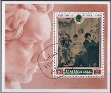 Ajman 1971 Ritratti di Celebrità : Ludwig van Beethoven Compositore Sheet CTO