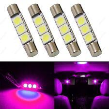 4 x Pink 28mm 3SMD T6 6641 LED Bulbs Sun Visor Vanity Mirror Fuse Lights + TOOL