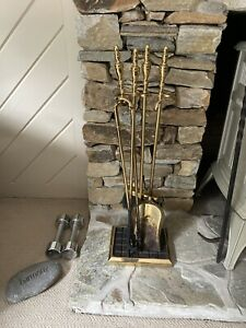 Vintage 4 Piece Brass Fireplace Tool Set with stand. HEAVY