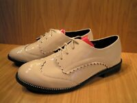 Patent Flat Shoes Beige Brogues Womens Low Heel Lace Up Ladies Size 7 BRAND NEW