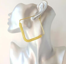 "Stunning large gold tone square shape MESH hoop earrings - NEW - 8cm - 3.1"" NEW"