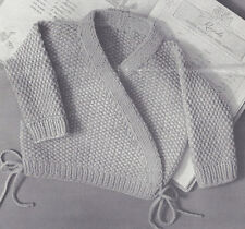 Knitting PATTERN to make Baby Sursplice Sweater Wrap Front Seed Stitch 6 mo 1 yr