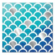 MERMAID Ocean Blue Scallop SMALL NAPKINS (16) ~ Party Supplies Serviettes Foil