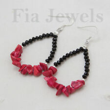 Orecchini Gocce di Corallo Rosso e Spinello Argento 925 Gioielli Pietre Preziose