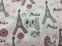 Paris France Pink & Gray Glitter Eiffel Tower Handcrafted Curtain Valance a1/1