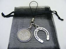 1961 Lucky Sixpence & Horseshoe Phone / Bag Charm - Nice Birthday Gift