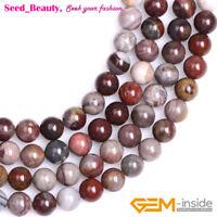 "Natural Round Dark Red Fancy Fantasy Jasper Stone Loose Jewelry Making Beads 15"""
