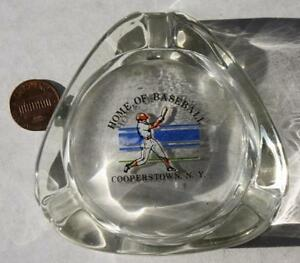 1970s Era Cooperstown New York Baseball Hall of Fame heavy clear glass ashtray!