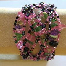 Fashion Cuff  Bracelet- seed beads -criss cross design- pink purple green black