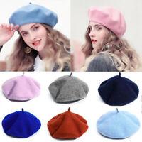 Winter British Style Vintage Wool Beanie Hat Women Warm Plain Felt Beret Cap-RO