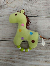 ADORABLE BABY HAND RATTLE PASTEL GREEN HUGFUN HORSE PLUSH STUFFED SOFT PONY TOY