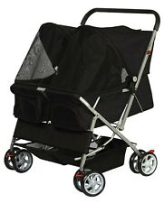 Paws & Pals Twin Double Folding Pet (Dog &Cat) Stroller - Black